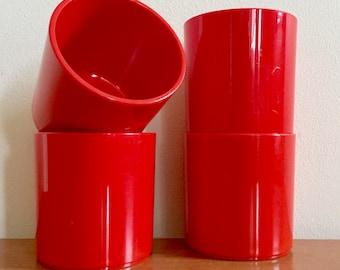 Vintage Dansk Bright Red Plastic Tumblers -- Set of 4
