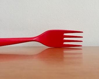 Vintage Danish Modern Melamine Copco Serving Fork -- Red