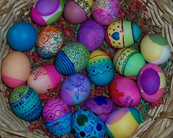 Basket of Easter Eggs, 5 x 7 photo on 8.5 x 11 Epsom high gloss paper, signed by me, carefully shipped flat.