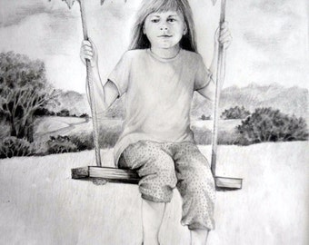 Child on a swing, 5 x 7 print on acid free 65 lb. off-white matte, signed by me, carefully shipped flat.