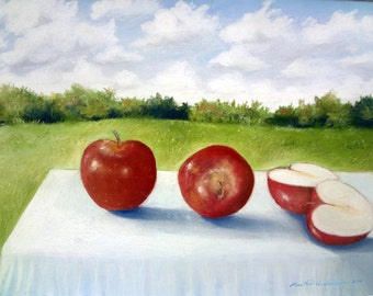 Three apples, 5 x 7 print on acid free 8.5 x 11, 65 lb. off-white matte, signed by me carefully shipped flat.