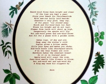 Classic Illustrated firewood poem; 8 x 10 framed print on 8.5 x 11 off white 65 lb. acid free matte