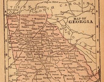 RARE Size Antique GEORGIA Map of Georgia State Map 1888 MINIATURE Travel Gallery Wall Art Map Collector Gift for Birthday Traveler 7126