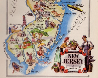 Whimsical NEW JERSEY Map of New Jersey Mining Farming Animals Oysters  Fun Vintage 1950s Picture Map  3231
