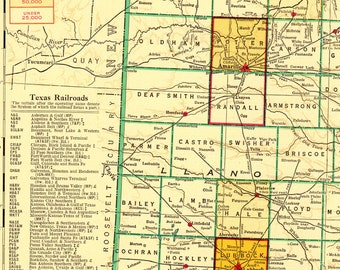 Map Of Northern Texas.Texas Map Etsy