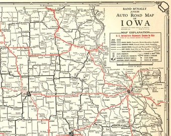 Antique iowa map | Etsy on