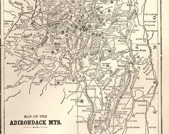 1905 ADIRONDACK  and White Mountains Map The Adirondacks Map Gallery Wall Art Library Cabin Decor Gift for Hiker Birthday 8094