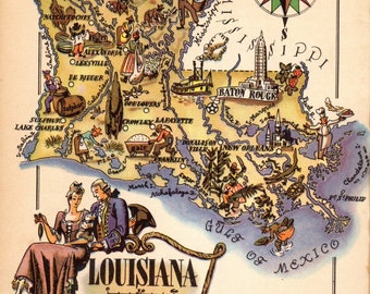 1950s Vintage LOUISIANA Map Chef Steam Boat Gallery Wall Art  Picture Map Collector Gift For Traveler Wedding Birthday 8346