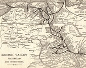 1903 Antique Lehigh Valley Railroad Map Vintage Pennsylvania Railway System Map Wall Art Birthday Gift for Dad 10925