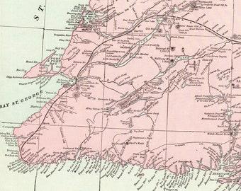 Map Of Canada Newfoundland.Newfoundland Map Etsy