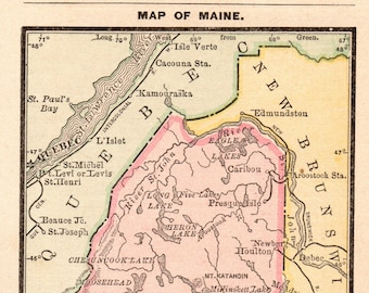 Maine Map Etsy