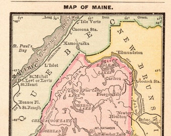 State Map Of Maine.Maine Map Etsy