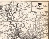 1935 Antique LEHIGH VALLEY Pennsylvania Railroad Map Vintage L M Railway Map Wall Art Birthday Gift for Dad Anniversary 10520