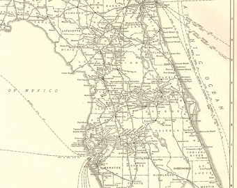 1927 Rare Size Antique FLORIDA Map Vintage Of Florida Poster Black And White Gallery