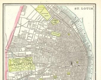 Vintage st louis map | Etsy
