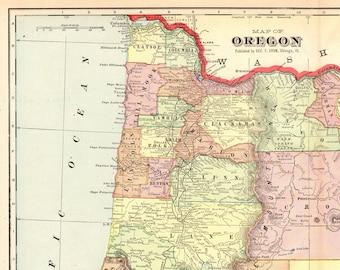 Vintage oregon map   Etsy