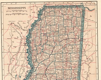 1925 Antique MISSISSIPPI State MAP Vintage Map of Mississippi Gallery Wall  Art Wedding Gift for Birthday Anniversary Christmas 8893 3dcae0089d86