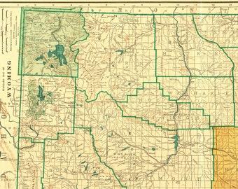 Wyoming state map | Etsy