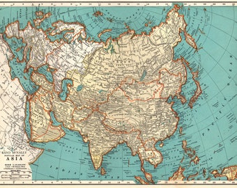 Map Of Asia 1930.1930s Asia Map Etsy
