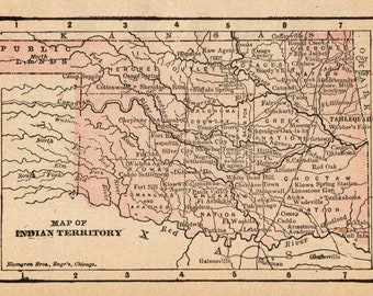 1900 Map Choctaw Nation American Indian territory Wall Art Poster Print Decor