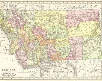 Montana map | Etsy