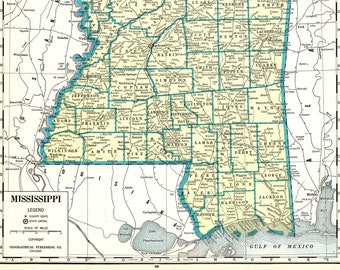 1937 Rare Size Antique MISSISSIPPI State Map Vintage Map of Mississippi  Poster Size Map Collector Gift For Wedding Birthday Anniversary 8909 2528d5c5d7ae