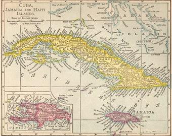 Vintage Jamaica Map Etsy - Vintage map of jamaica