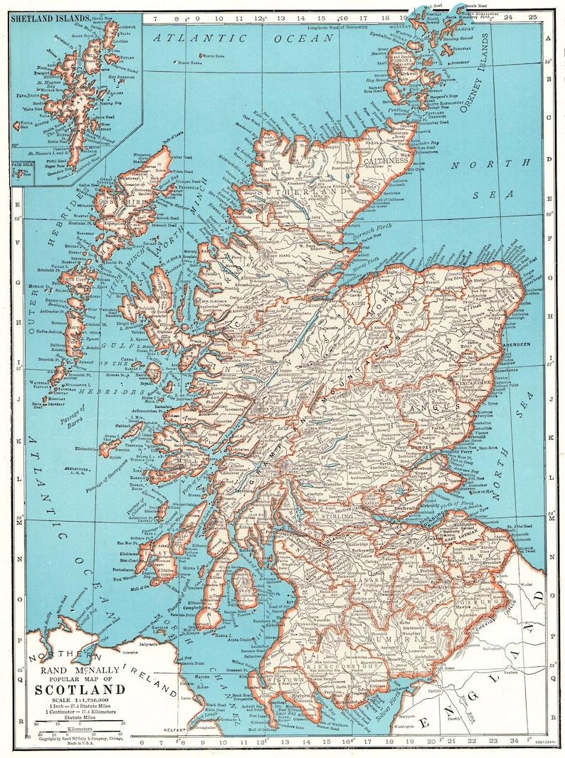 Haus Wohnen 1947 Antike Scotland Karte Von Schottland