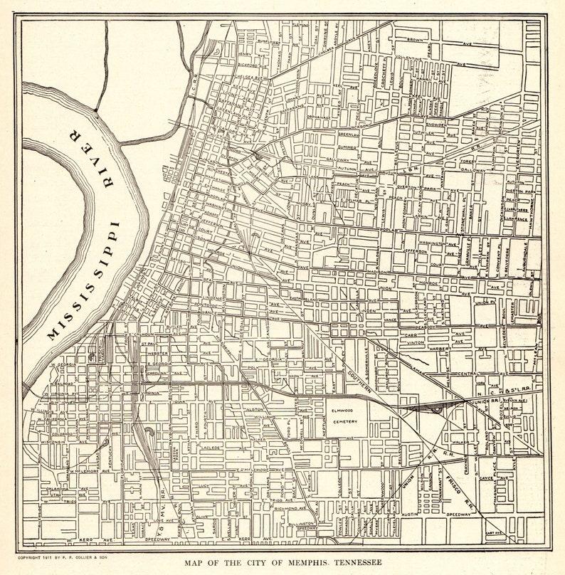 1917 Antique MEMPHIS City Map of Memphis Tennessee Vintage | Etsy