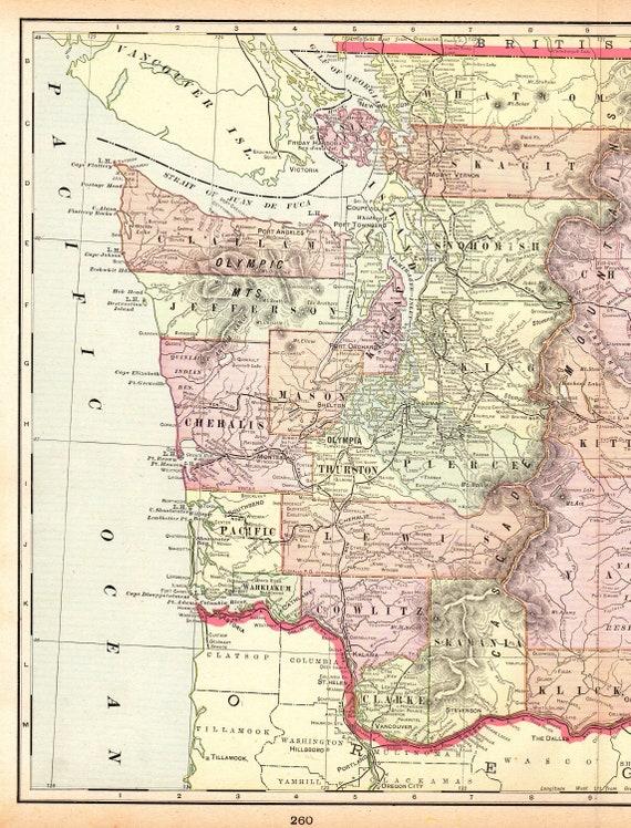 1901 Antique WASHINGTON Map of Washington State Map Print Gallery Wall Art  Gift For Birthday Wedding Anniversary Graduation 9830