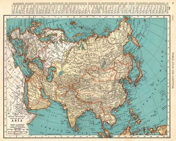 Map Of Asia 1941.1941 Antique Asia Map Vintage Map Of Asia Gallery Wall Art Etsy