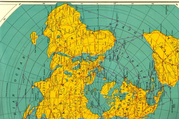 1956 rare polar world map poster print antarctica map arctic etsy image 0 gumiabroncs Images