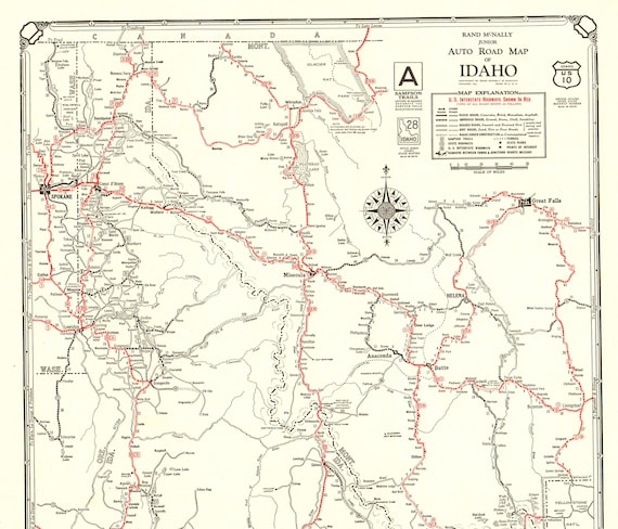 1930 Antique IDAHO State Road Map of Idaho Auto Road Map Black and White  Gallery Wall Art Anniversary Gift for Birthday 9975