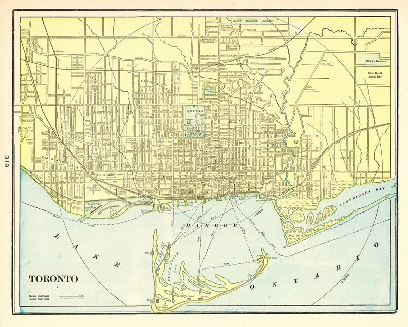1898 Antique TORONTO CANADA Map Vintage Map of Toronto City Gallery Wall  Art Home Office Decor Gift for Birthday Anniversary Wedding 9748