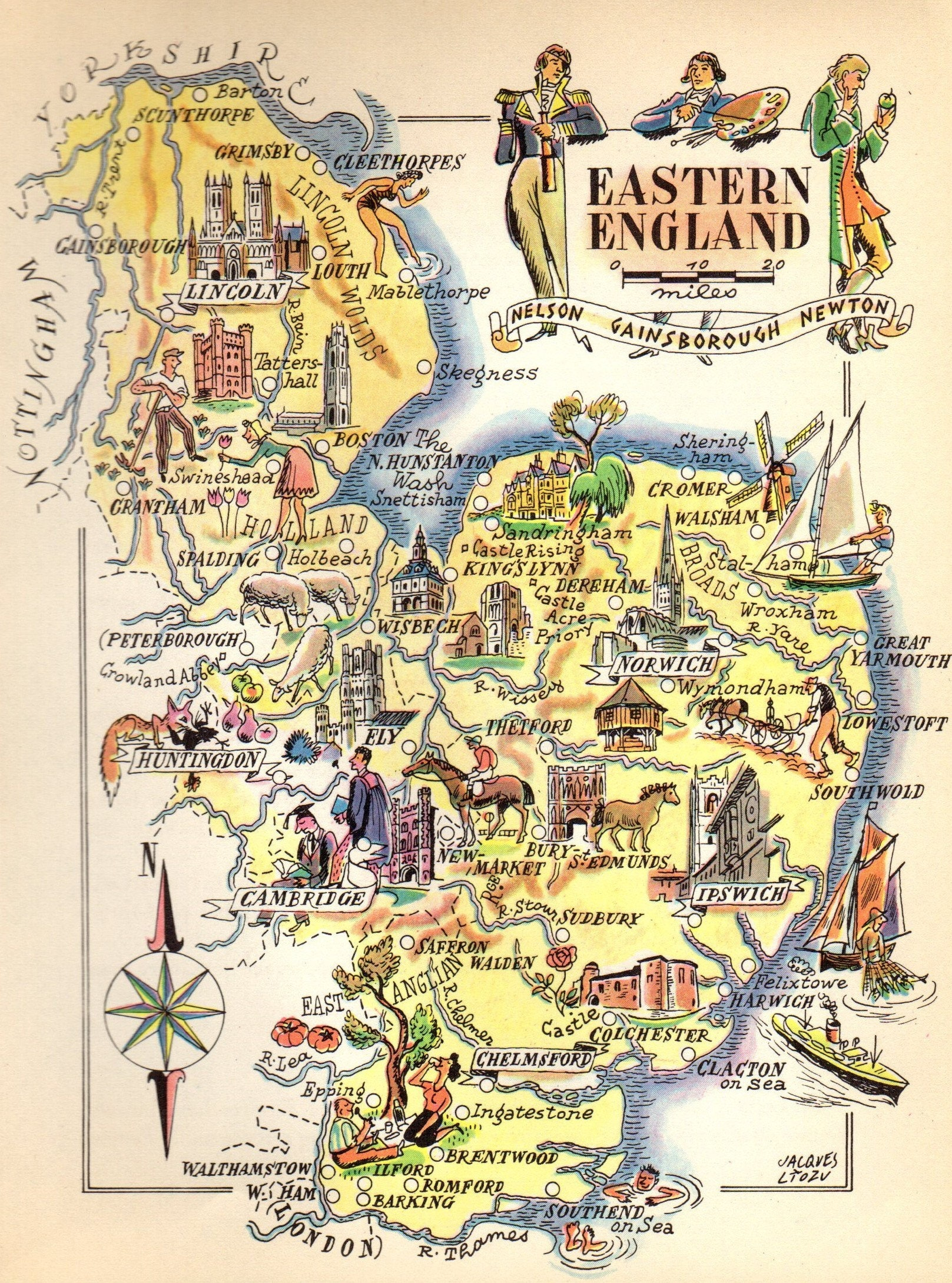 1949 Antique Eastern England Picture Map Lincoln Ipswich Etsy
