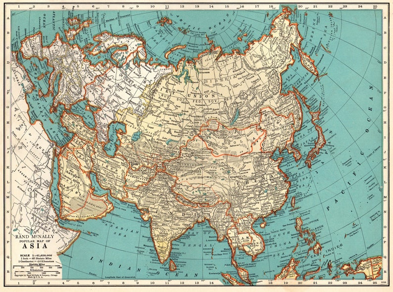 Map Of Asia To Print.1941 Vintage Asia Map Of Asia Antique 1930s Asia Print Gallery Etsy