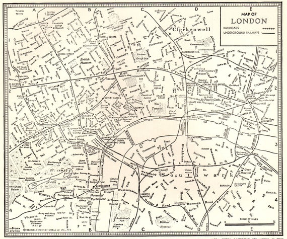 1942 Vintage London Map Antique 1940s Map Of London Black And