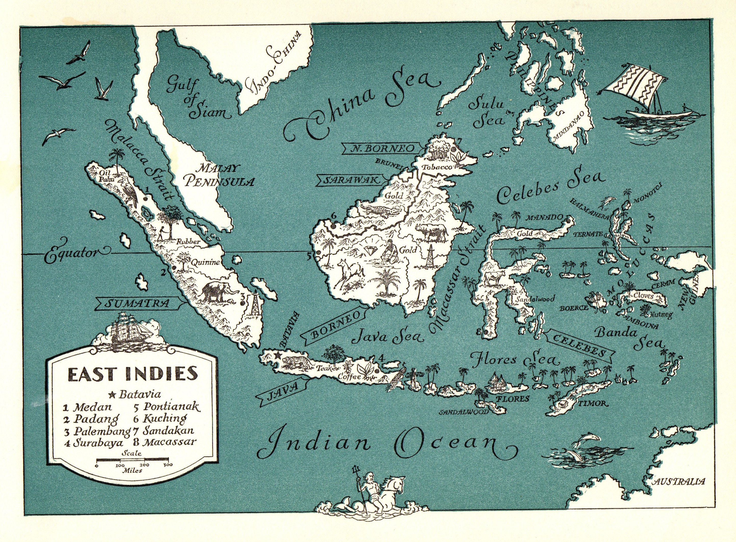 1945 Antique East Indies Picture Map Pacific Islands Map Etsy