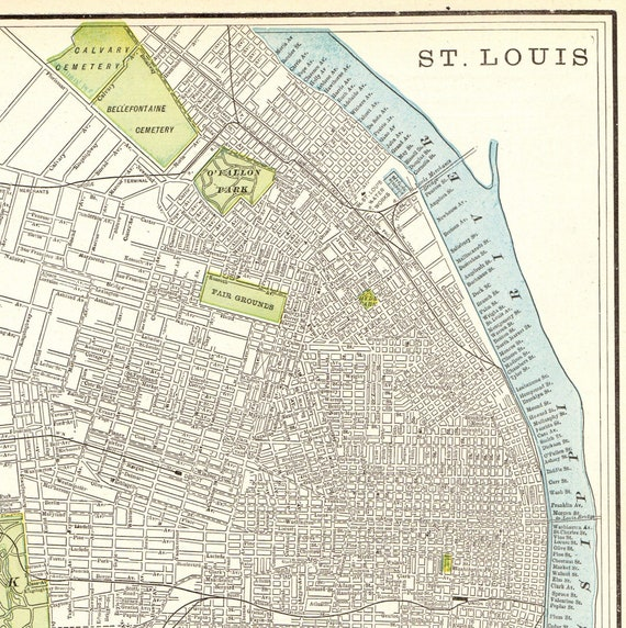 1895 Antique ST LOUIS Map Vintage Map of St Louis Missouri Gallery on ofallon map, st. louis city driving map, independence map, santa fe map, richmond map, new orleans map, cleveland map, dittmer map, united states map, st. louis metro map, st. louis cities map, st. louis metrolink system map, saint peters map, midtown st louis map, fresno map, chicago map, atlanta map, detroit map, pittsburgh map, dallas map,