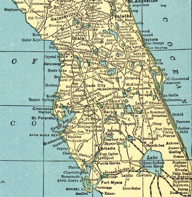 1931 Antique Florida Map Vintage State Map Of Florida Gallery Etsy