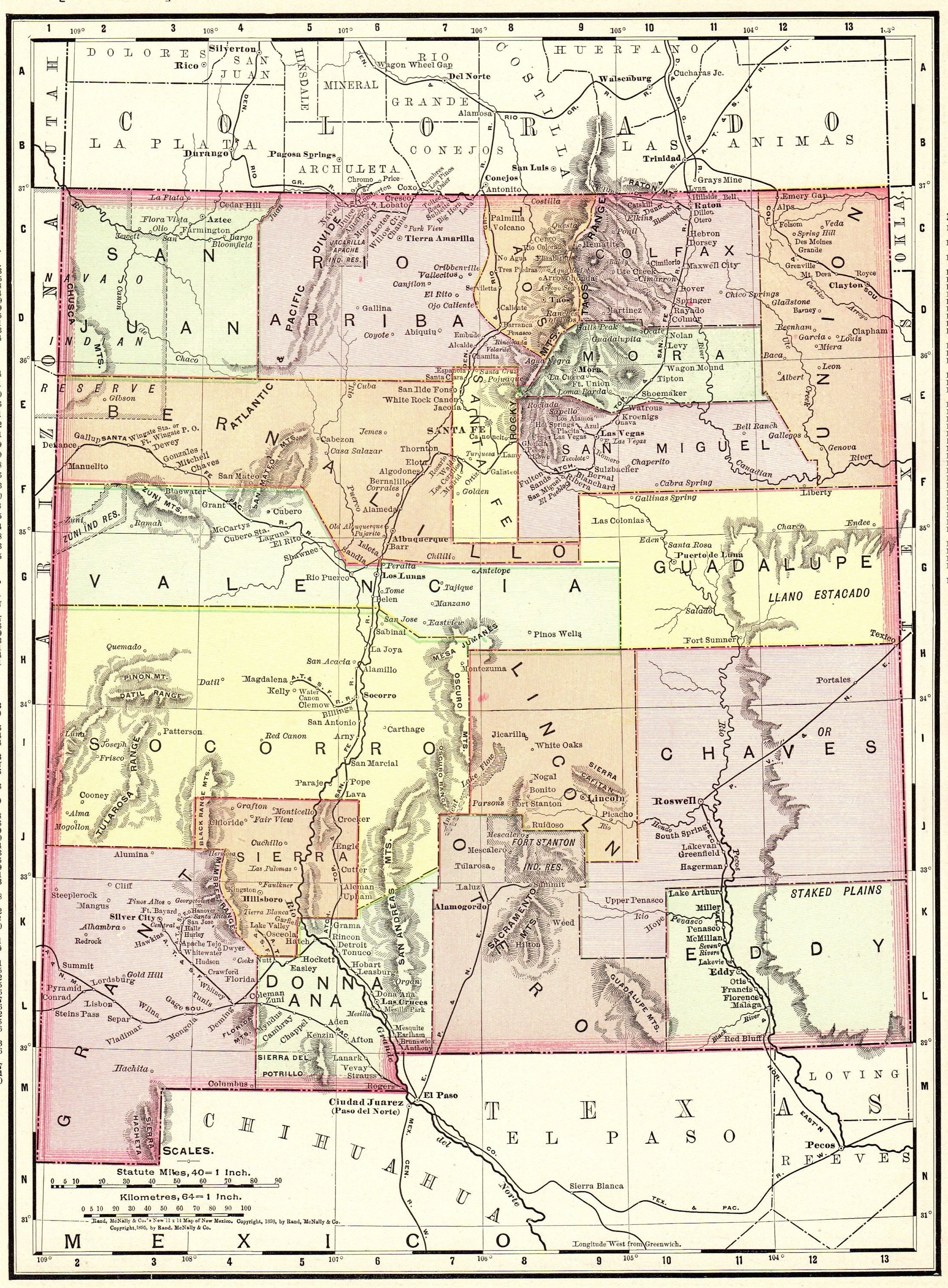 1886 Antique New Mexico Map Vintage State Map Of New Mexico Etsy
