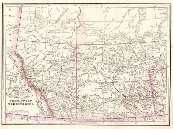 Northwest Territories Canada Map.Antique Northwest Territories Canada Map 1900 Vintage Map Of Etsy