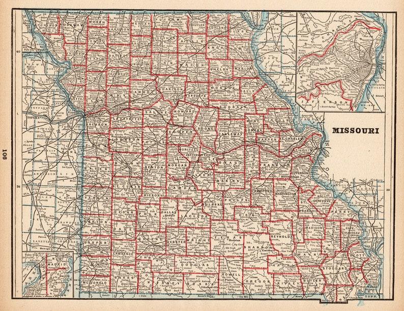 1892 Antique Missouri State Map Vintage Map Of Missouri Etsy