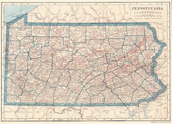 1921 Antique Pennsylvania Map Of Pennsylvania State Map Etsy