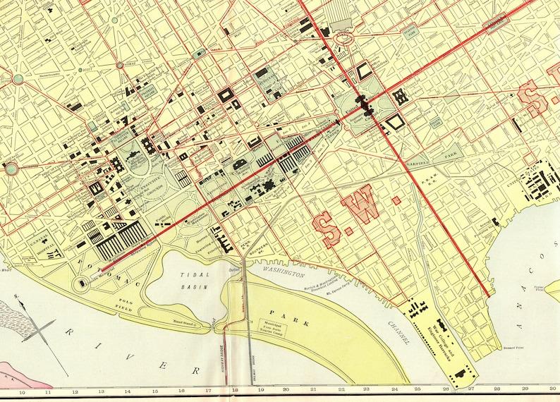 1927 RARE Size Antique WASHINGTON DC Map Vintage Map of | Etsy