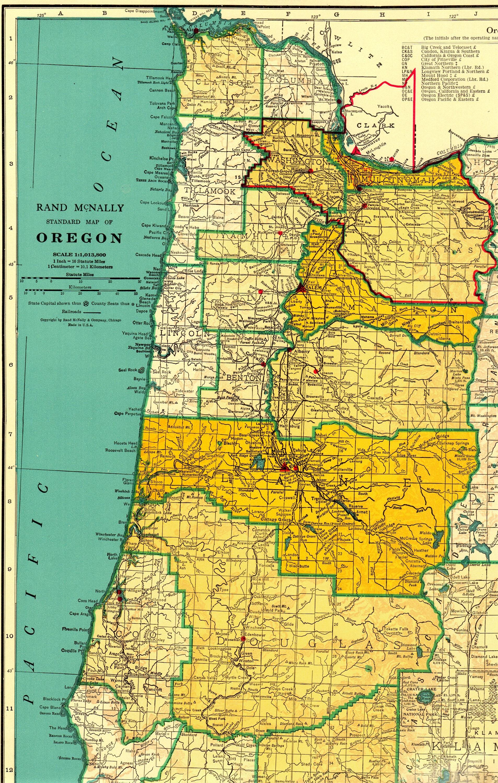 Vintage Oregon Map.1956 Rare Size Vintage Oregon Map With Railroads Library Decor Etsy