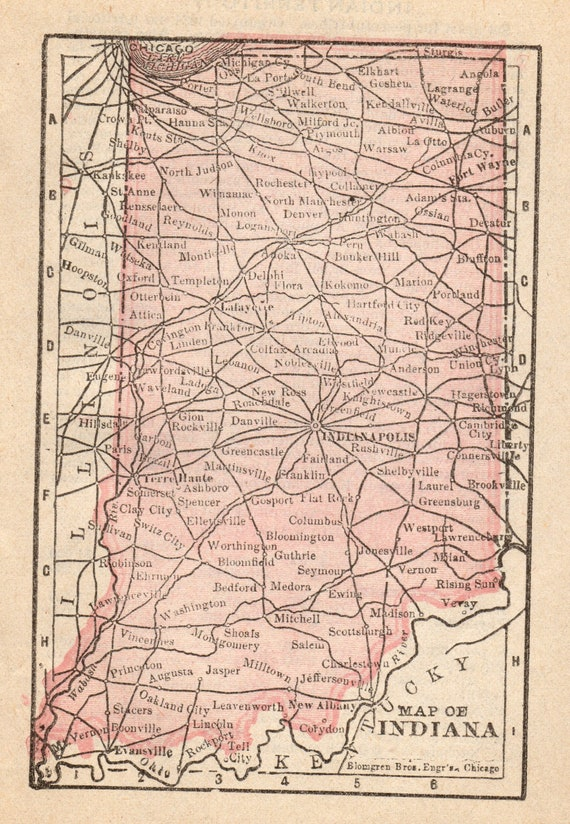 Rare Size Antique Indiana Map Of Indiana Antique Miniature Etsy