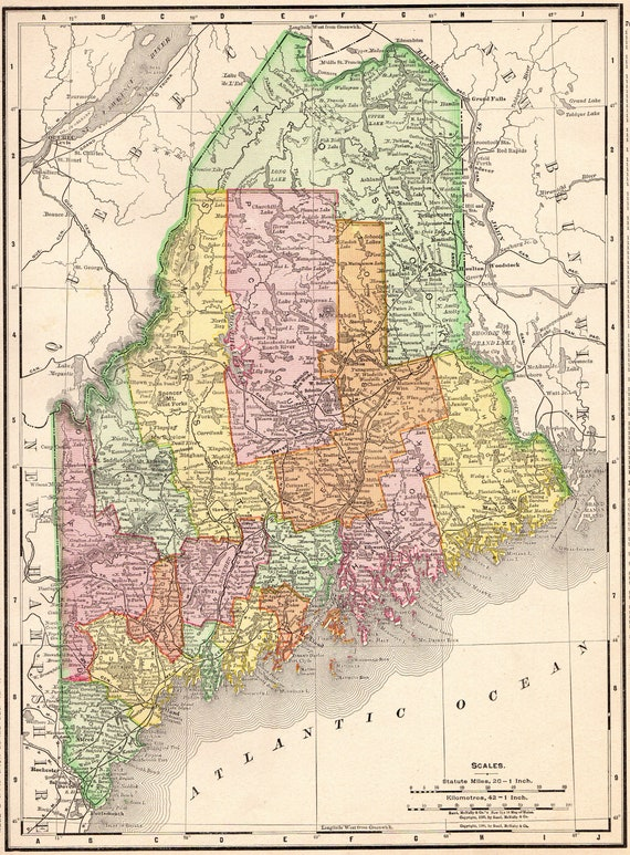 1900 Antique Maine Map Of Maine State Map Gallery Wall Art Etsy