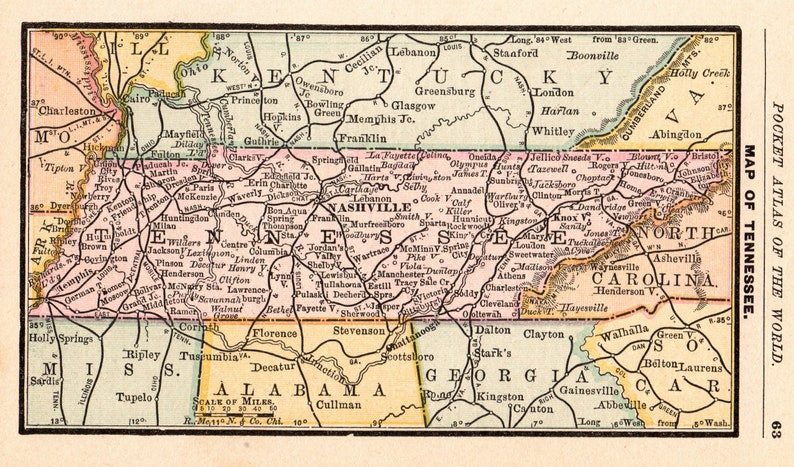 1888 Antique TENNESSEE State Map Vintage Map of Tennessee Miniature Gallery  Wall Art Office Decor Birthday Traveler Wedding Gift 9764