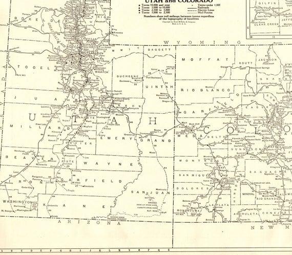 1927 Rare Size Antique UTAH Map COLORADO Map Poster Size Black | Etsy